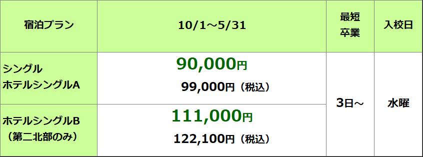 秋田北部自動車学校 準中型限定解除料金表