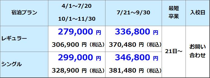 備南自動車学校 準中型料金表