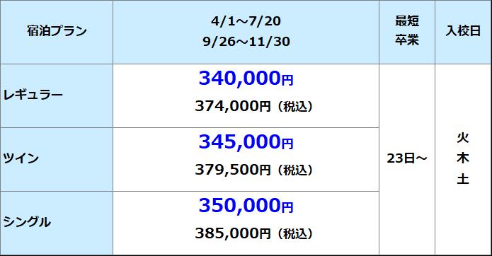 共立自動車学校 日野 準中型料金表