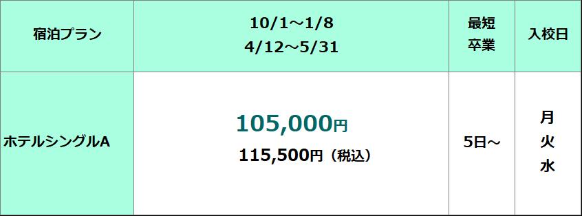 鳥取県東部自動車学校 準中型免許限定解除AT料金表