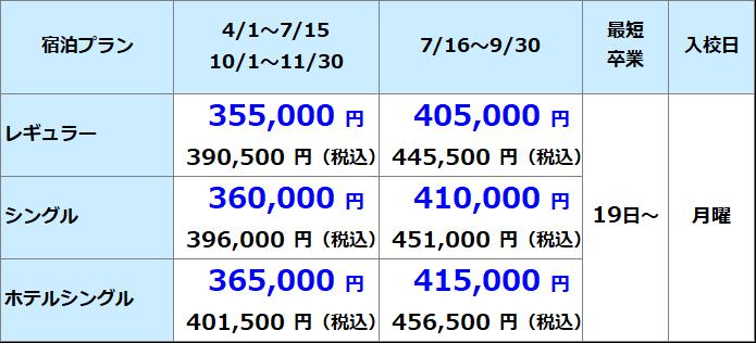 鶴岡自動車学園 準中型料金表